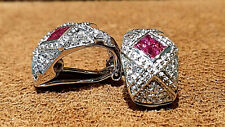 14K white gold Diamond Earing with Natural Ruby.