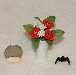 "Dollhouse Miniature Halloween ""EYEBALL FLOWERS in Vase""-OOAK-Artist- 2"" tall"