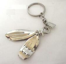 Metal Leaves and Ring Key Ring Chain Silver Tone