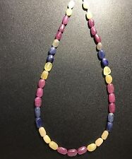 """Natural 393 Carats Sapphire Beads 39 Pcs Blue Yellow Red Ruby Necklace Loose 20"""""""