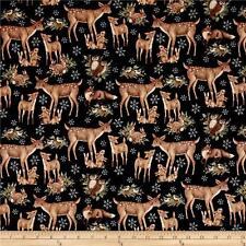 "Fabric Christmas Deer's & Snowflakes Old World on Black Cotton 33"""