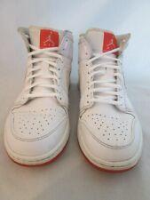 Nike Air Jordan 1 Mid Prem 667399-123 White Leather Infrared Mens Size 10