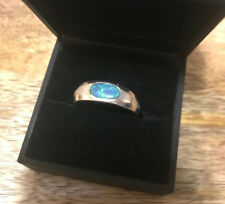 Green Opal Ring: Size 11.5 Men's 14k White Gold Blue/