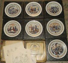 """S/7 D'Arceau Limoges 'Lafayette Legacy' Plates & Story/Record Holder 8 3/8""""D"""