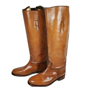 FRYE women boots distressed brown leather tall knee high pull on sz 6 vintage
