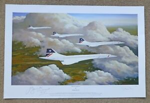 British Airways Concorde over Clifton Bridge Bristol print signed by 6 Aircrew
