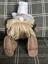 New Cowboy Western Sitting Gnome Country Doll 15� Tall Cowboy Hat