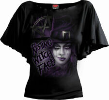 SPIRAL DIRECT RESTING WITCH FACE  Boat Neck Viscose/Witches/Goth/Tee/S-XXL/Top