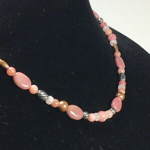 """Carolyn Pollack Pink Kunzite 925 Sterling Silver 21"""" Necklace Mixed Bead Types"""
