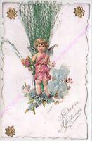 CPA DECOUPIS Souvenir affectueux ange ruban bleu herbe angel