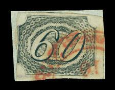 BRAZIL 1844  INCLINADOS  60reis black  Scott # 9 used , on piece