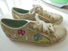 Coach Tennis Shoes Sneakers Ladies Dee Khaki Gold Size 5