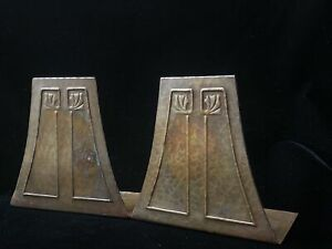 Pair of Roycroft Mission Arts & Crafts Hammered Copper Bookends 1906-1910