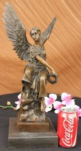 Stunning French Bronze Winged Angel & Halo Wreath Sculpture Statue Victory SALE