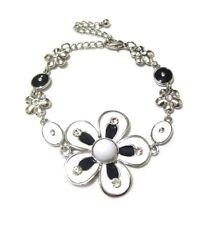 Black White Silver Crystal Enamel Flower Charm Chain Bracelet Women Jewellery UK