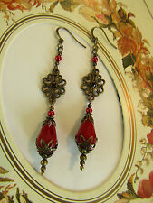 VINTAGE VICTORIAN STYLE DANGLE RED DROP EARRINGS Downton