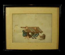 """Scène de supplice Aquarelle XIXe on """" pith paper"""" watercolor Chine China torture"""