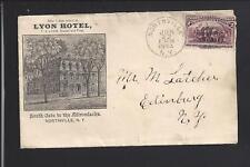 "NORTHVILLE,NEW YORK,1894 COLUMBIAN COVER,ILLUST BUILDING AD,  ""LYON HOTEL""."