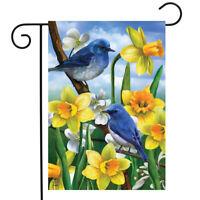 "Bluebirds And Daffodils Spring Garden Flag Floral 12.5"" x 18"" Briarwood Lane"