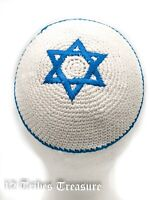 Star Of David Kippah Pale Blue Magen Knitted White Israel Jewish Yamaka Judaica