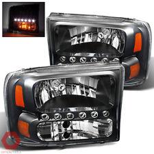Fits 99-04 F250 F350 F 450 F550 SD / 00-04 Excursion Headlights w/DRL (Black)