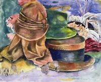 "Original watercolor painting by artist Zina Andresini Poliszuk ""Hats"""