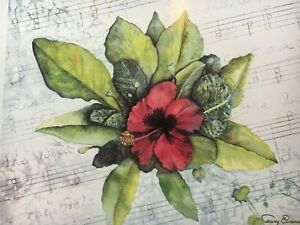 Trudy Evenson The Wind in the Flowers Hibiscus Music 12x13 Print Montana Artist
