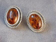 Natural Golden Dark Honey Amber Sterling Silver Oval Stud 925 Earrings 4f 86