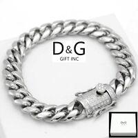 "DG Men's 8.5"",Silver Stainless Steel 10mm,Miami Cuban CZ Bracelet,BOX"
