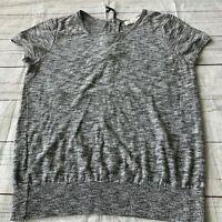 Ann Taylor LOFT Gray Knit Short Sleeve Sweater Top Women's Size Medium