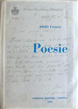 ADOLFO CROSARA POESIE CONSONNI EDITORE 1965