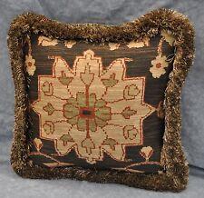 Pillow made w/ Ralph Lauren Harriman Beekman Brown Fabric 14x14 trim fringe NEW