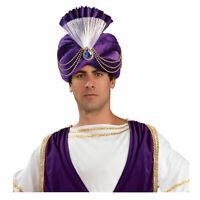Adult Arabian Fortune Teller Gypsy Halloween Cosplay Costume Purple Turban Hat