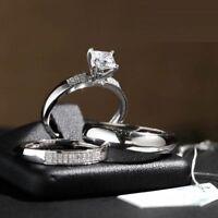 14K White Gold Over Engagement Bridal His Her Band Diamond Wedding Trio Ring Set