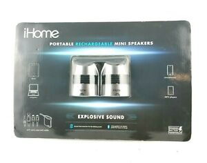 iHome Portable Re-Chargeable Mini Speakers Carrying Case Cables Black USA Seller