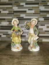Vintage Homco Man And Women With Grape Baskets Figurine