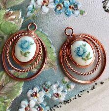 Vintage Limoges Charms, Connectors Flowers Floral Oval Copper Rose NOS #1418B