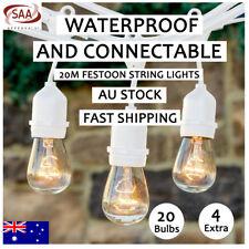 6 Pcs 20M White Festoon String Lights Kits Wedding Party Garden Outdoor Lighting