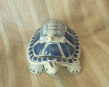Phai's ceramic turtle trinket box tureen blue and white made in China