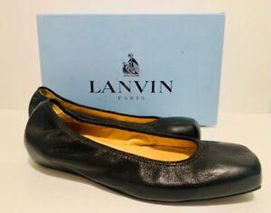 Lanvin Women's Ballet Flats Shoes Black Grained Goat Leather Square Toe 5 EU 36