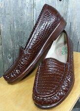 SAS SIMPLIFY Womens 5.5 M Brown Patent Croc Slipon  Moccasins Flats Loafer Shoes