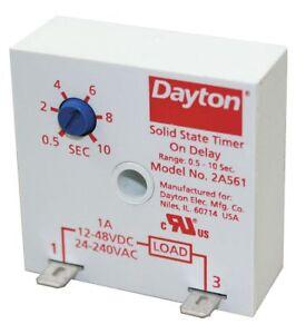 DAYTON 2A561 Encapsulated Timer Relay, 10sec, 2 Pin, 1NO, 1A