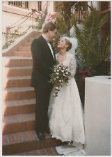 Vintage 80s Photo Romantic Wedding Couple Gazing At Each Other