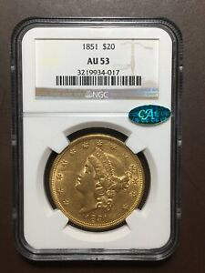 1851 $20 NGC AU53 CAC Gold Double Eagle Type One