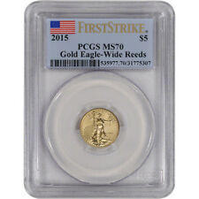 2015 American Gold Eagle (1/10 oz) $5 - PCGS MS70 - First Strike - Wide Reeds