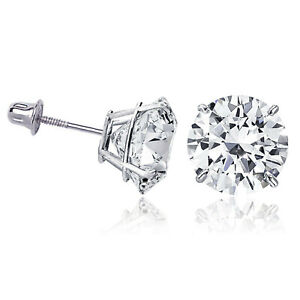 14K Solid White Gold Round Solitaire Cubic Zirconia Screw Back Stud Earrings