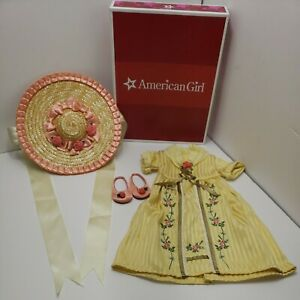 American Girl Felicity Tea Time Lesson Outfit Dress Hat Shoes Retired New In Box