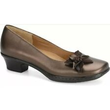 Softspots Women Leather Shoe 6.5 W Comfort Pumps Star Flower Cushioned Brown