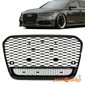 AUDI A6 C7 4G 2011-2015 RS STYLE GLOSS BLACK HONEYCOMB BUMPER GRILLE