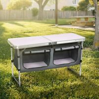 Camping Foldable Serving Table w/Two Large Storage Organizer Compact Aluminum